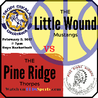 Little Wound Mustangs vs Pine Ridge Thorpes - Boys Basketball Logo