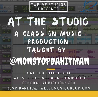 """A Class On Music Production"" taught by: @nonstopdahitman Logo"