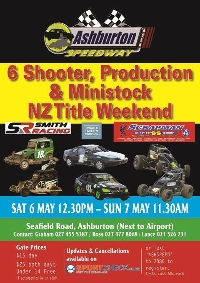 6 Shooter, Production & Ministock NZ Title Weekend Night 1 - Ashburton Logo
